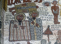 Wandgemälde in der Felsenkirche Yohannes Maequddi, Gheralta, Tigray, Ethiopia