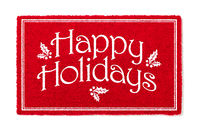 Happy Holidays Christmas Red Welcome Mat Isolated on White Background