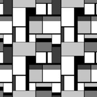 Grayscale painting in Piet Mondrian's style, seamless pattern