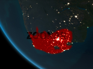 South Africa at night from orbit