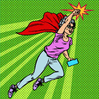 Woman grandmother superhero flying active strong pensioner elderly lady