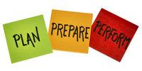 plan, prepare, perform - business concept