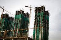 Erection of buildings. Rapid growth of construction in India
