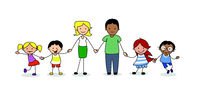 family holding hands, children and parents illustration -