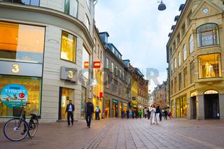 People Stroget shopping street Copenhagen.