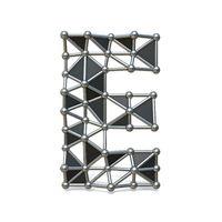 Wire low poly black metal Font Letter E 3D