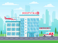 Hospital building with ambulance helicopter on roof and car standing on road, medical services, clinic building with big windows, vector illustration