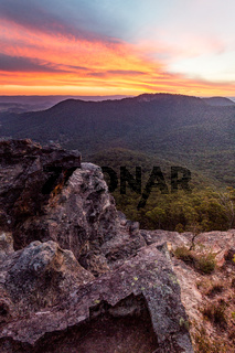 Red sunset over Blue Mountains