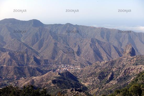 Blick auf den Ort Valhermoso, La Gomera, Spanien