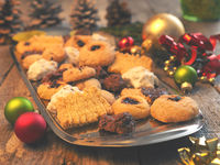 Tasty Christmas cookies with decoration
