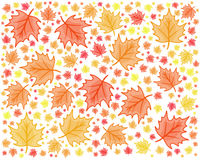 maple leaf red and yellow autumn themed modern seamless repeating design