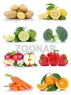 Früchte Obst und Gemüse Sammlung Apfel Kartoffeln Orangen Möhren Farben frische Freisteller freigestellt isoliert