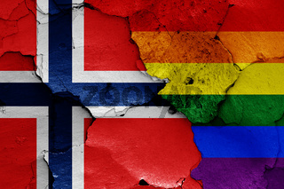 flags of Norway and LGBT painted on cracked wall