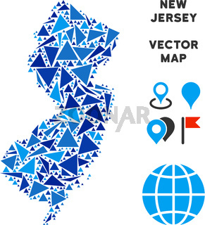 Blue Triangle New Jersey State Map