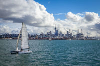 Auckland view from the sea and sailing ship, New Zealand