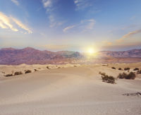 Mesquite Dunes in Death Valley National Park, California at sunset