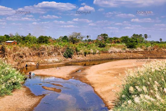 Typische Flusslandschaft in Sambia, |  Typical river landscape in Zambia