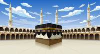 Panoramic of Kaaba for hajj steps in Al-Haram Mosque Mecca Saudi Arabia, vector illustration on blue sky with clouds - Eid Adha Mubarak