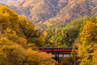 red train commuter Fukushima Japan