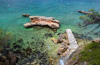 Rocky empty beach of Andratx, Mallorca tourist resort, Balearic Islands, Spain