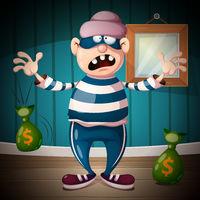 Funny, cute, crazy cartoon thief characters.