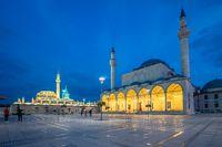 View of Selimiye Mosque and Mevlana Museum in Konya, Turkey