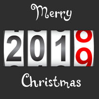 2019 New Year counter Christmas congratulation Black background