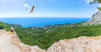 Foros resort town panorama, view from the Crimean mountains, Crimea, Ukraine
