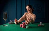 Young beautiful woman in casino