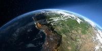 Detailed Earth. South America. Bolivia, Peru, Brazil