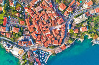 Town of Lovran historic center and coastline aerial view