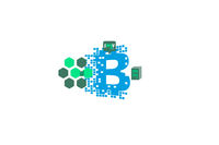An example of interaction bitcoin on the circuit. Digital economy. Illustration of crypto currency