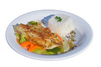 Tilapia with rice and vegetables as a side.