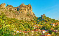 The Meteora rocks and Kalambaka town