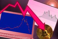 Bitcoin coin in flames as market crash with laptop graph
