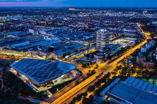 Aerial view of BMW Museum and BWM Welt and factory. Munich, Germany