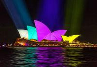 Sydney Opera House shines in vibrant rich block colours during Vivid Sydney festival