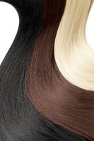 Closeup on luxurious colorful straight glossy hair