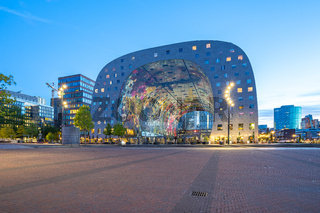 The Markthal at night in Rotterdam city, Netherlands.