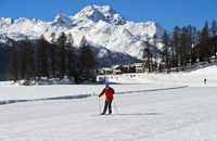 Ski-Langläufer gleitet über den zugefrorenen Champfersee, Champfer, Engadin, Graubünden, Schweiz