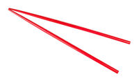red painted wooden chopsticks isolated