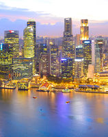 Twilight Singapore Downtown aerial view
