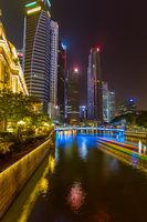 SINGAPORE - APRIL 30: Singapore city skyline and Marina Bay on April 30, 2016 in Singapore