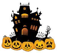 Halloween house silhouette theme 4