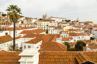 Blick auf die Altstadt von Lissabon mit Kloster São Vicente de Fora, Portugal