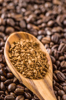 The instant coffee and coffee beans.