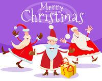 Christmas card design with cartoon Santa Claus