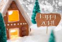 Gingerbread House, Silver Background, Text Happy 2019