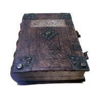 Vintage book cover with beautiful decoration. The old history book in a leather cover.