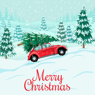 Red auto with christmas tree on roof, delivery